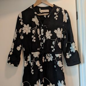 Navy blue embroidered Anthropologie dress